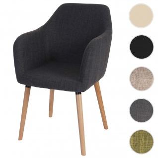 Esszimmerstuhl Malmö T381, Stuhl Küchenstuhl, Retro 50er Jahre Design ~ Textil, grau, helle Beine