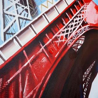 Ölgemälde Eiffelturm Tricolore, 100% handgemaltes Wandbild Gemälde XL, 100x100cm - Vorschau 5