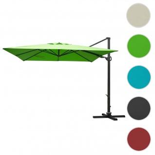 Gastronomie-Ampelschirm HWC-A39, 3x3m (Ø4, 24m) schwenkbar drehbar, Polyester/Alu 31kg ~ grün ohne Ständer