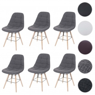 6x Esszimmerstuhl HWC-A60 II, Stuhl Küchenstuhl, Retro 50er Jahre Design ~ Stoff/Textil grau