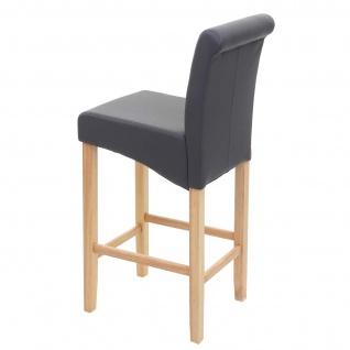 2x Barhocker HWC-C33, Barstuhl Tresenhocker, Holz ~ grau matt, helle Beine, Kunstleder - Vorschau 5