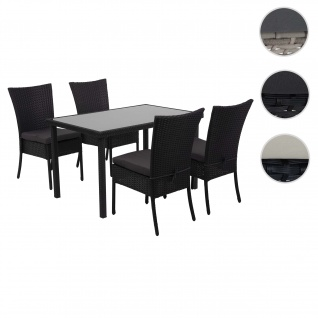 Poly-Rattan Garnitur HWC-G19, Sitzgruppe Balkon-/Lounge-Set, 4xStuhl+Tisch, 120x75cm ~ schwarz, Kissen dunkelgrau