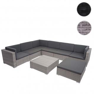 Poly-Rattan Garnitur HWC-G79, Balkon-/Garten-/Lounge-Set Gartenmöbelset Sitzgarnitur Sofa ~ grau, Kissen dunkelgrau