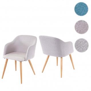 2x Esszimmerstuhl HWC-D71, Stuhl Küchenstuhl, Retro Design, Armlehnen Stoff/Textil hellgrau-grau
