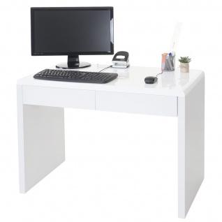 Design Schreibtisch Edmonton, Bürotisch Computertisch, hochglanz 100x50cm weiß - Vorschau 1