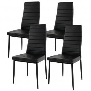 4x Esszimmerstuhl Lixa, Stuhl Küchenstuhl, Kunstleder ~ schwarz