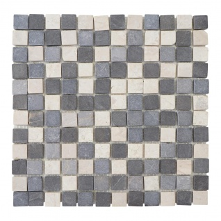 Steinfliesen Vigo T690, Marmor Naturstein-Fliese Quadrate, 11 Stück je 30x30cm = 1qm ~ grau-weiß - Vorschau 2