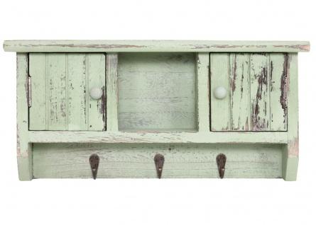 Schlüsselbrett HWC-A48, Schlüsselkasten Schlüsselboard mit Türen, Massiv-Holz ~ shabby grün - Vorschau 3