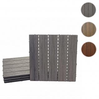 WPC Bodenfliese HWC-E19, Holzoptik Balkon/Terrasse, 3D-Struktur linear ~ antik-braun, 11x je 30x30cm = 1qm