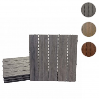 WPC Bodenfliese HWC-E19, Holzoptik Balkon/Terrasse, 3D-Struktur linear ~ antik-braun, 4x je 50x50cm = 1qm