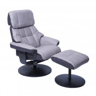 MCA Relaxsessel HWC-F21, Fernsehsessel Hocker, Stoff/Textil 110kg belastbar grafit-hellgrau