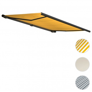 Elektrische Kassettenmarkise T123, Markise Vollkassette 4, 5x3m ~ Polyester gelb, Rahmen anthrazit