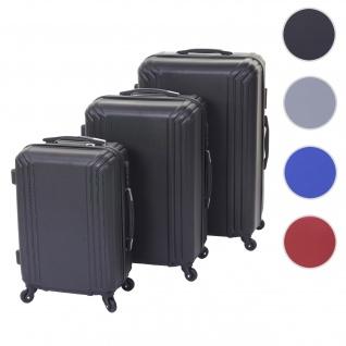 3er Set Koffer HWC-D54a, Reisekoffer Hartschalenkoffer Trolley Handgepäck, Höhe 72/60/50cm ~ schwarz, Standard