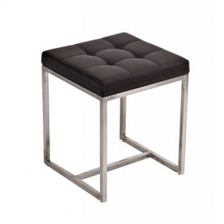 Sitzhocker Barci, Kunstleder ~ braun