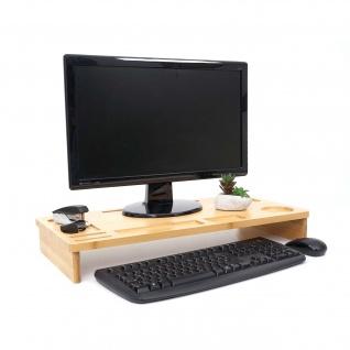 Monitorerhöhung HWC-E85, Monitorständer Tischorganizer Bildschirmerhöhung, Bambus 9x65x31cm