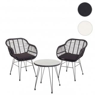 Poly-Rattan Garnitur HWC-G17, Balkon-Set Gartengarnitur Sitzgarnitur Sitzgruppe Stuhl ~ anthrazit, Kissen anthrazit