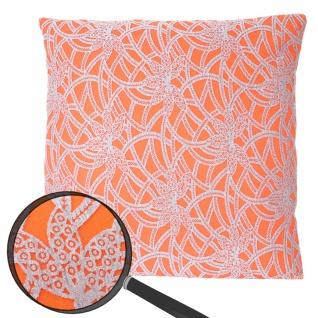 Deko-Kissen Barock, Sofakissen Zierkissen mit Füllung, orange 45x45cm