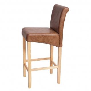 Barhocker HWC-C33, Barstuhl Tresenhocker, Holz ~ Schriftzug, grau, dunkle Beine, Stoff/Textil - Vorschau 2