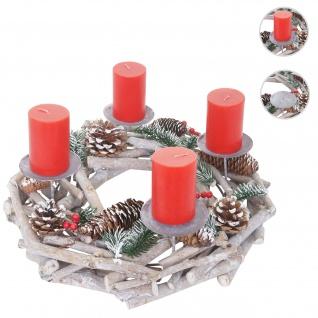 Adventskranz rund, Weihnachtsdeko Tischkranz, Holz Ø 35cm weiß-grau ~ mit Kerzen, rot