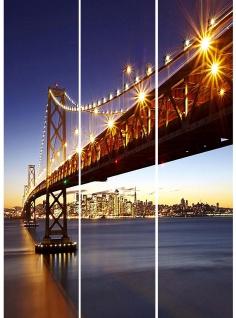 Foto-Paravent H36, Paravent Raumteiler Trennwand, 150x120cm ~ Brücke