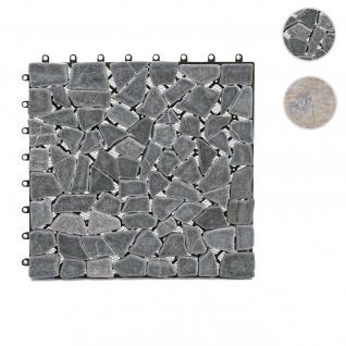 Steinfliese HWC-E18, Bodenfliese Steckfliese Balkon/Terrasse Naturstein, 11x je 30x30cm = 1m² ~ Mosaik Kiesel grau