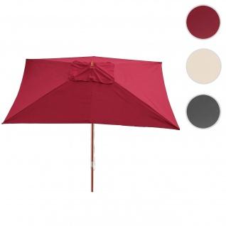 Sonnenschirm Florida, Gartenschirm Marktschirm, 3x4m Polyester/Holz 6kg ~ bordeaux