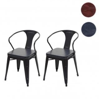 2x Esszimmerstuhl HWC-H10d, Stuhl Küchenstuhl, Chesterfield Metall Kunstleder Industrial Gastronomie ~ schwarz-grau