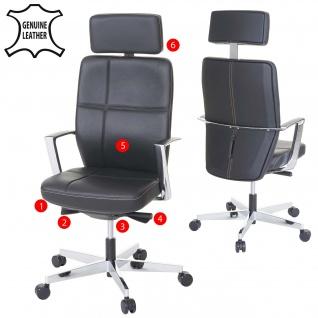 Bürostuhl MERRYFAIR Luton, Schreibtischstuhl, Sliding-Funktion Leder ISO9001 130kg belastbar - Vorschau 1