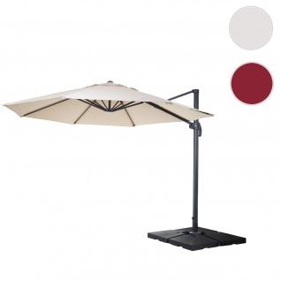 Gastronomie-Ampelschirm HWC-A96, Sonnenschirm, rund Ø 4m Polyester/Alu 27kg ~ creme mit Ständer, drehbar