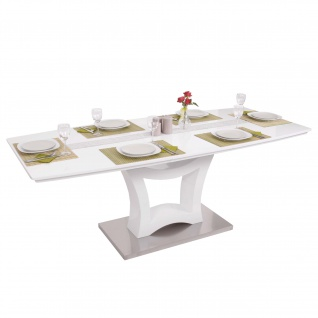 Esstisch HWC-B48, Esszimmertisch Tisch, ausziehbar hochglanz Edelstahl 160-205x90cm