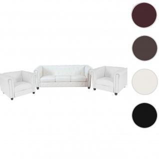 Luxus 3-1-1 Sofagarnitur Couchgarnitur Loungesofa Chesterfield Kunstleder ~ runde Füße, weiß