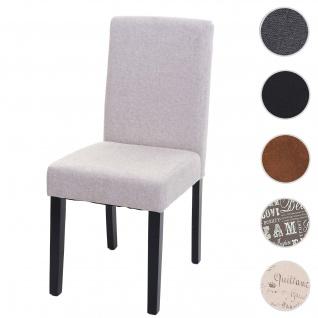 Esszimmerstuhl Littau, Küchenstuhl Stuhl, Stoff/Textil ~ creme-beige, dunkle Beine