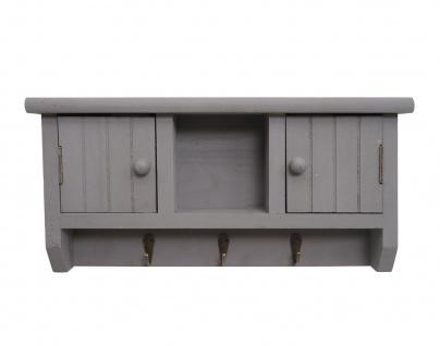Schlüsselbrett HWC-A48, Schlüsselkasten Schlüsselboard mit Türen, Massiv-Holz ~ grau - Vorschau 3