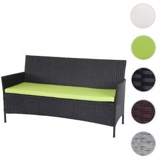 3-Sitzer Poly-Rattan Gartenbank Halden, Sitzbank ~ anthrazit, Kissen grün