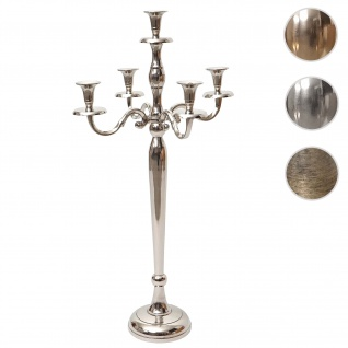 Kerzenleuchter HWC-D81, Kerzenständer Leuchter Kerzenhalter, 5-armig aus Aluminium 80cm massiv 2, 2kg ~ Farbe: Silber