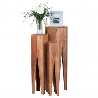 3er Set Beistelltisch Konya, Wohnzimmertisch Telefontisch, Akazie Massivholz, 100x25x25cm