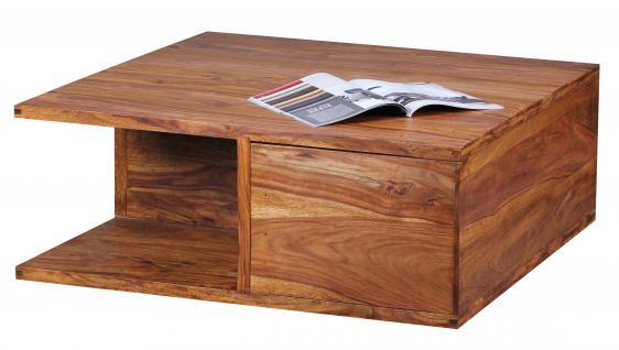 Couchtisch Malatya, Wohnzimmertisch, Sheesham Massivholz, 1 Schublade, 2 Ablagefächer, 88x88x40cm
