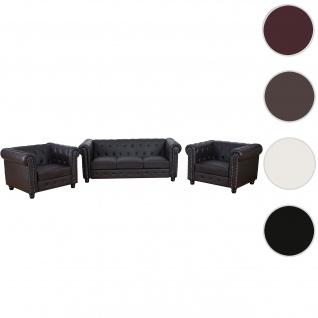 Luxus 3-1-1 Sofagarnitur Chesterfield Kunstleder runde Füße, braun