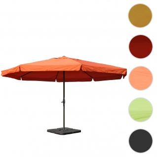 Sonnenschirm Meran Pro, Gastronomie Marktschirm mit Volant Ø 5m Polyester/Alu 28kg ~ terracotta mit Ständer