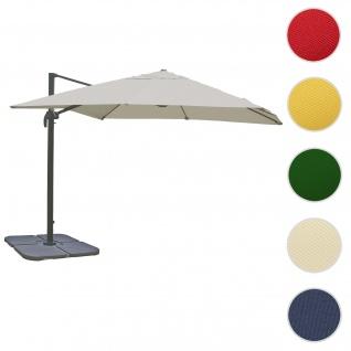 Gastronomie-Ampelschirm HWC-A96, 3x4m (Ø5m) Polyester Alu/Stahl 26kg ~ creme-grau mit Ständer, drehbar