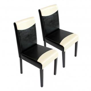 2x Esszimmerstuhl Stuhl Küchenstuhl Littau ~ Kunstleder, schwarz-weiß, dunkle Beine