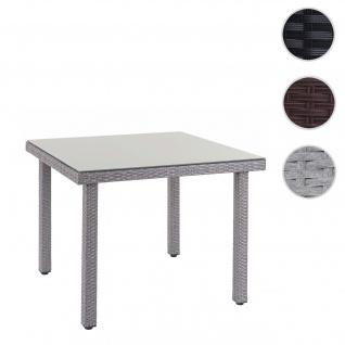 Poly-Rattan Gartentisch Cava, Esstisch Tisch mit Glasplatte, 90x90x74cm grau