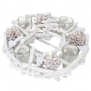 Adventskranz rund mit Teelichthaltern, Weihnachtsdeko Adventsgesteck, Holz Ø 30cm weiß-grau - Vorschau 4