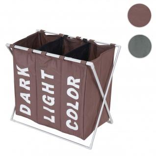 Wäschesammler HWC-C36, Laundry Wäschesortierer Wäschekorb, 3 Fächer klappbar 59x62x37cm 135l ~ braun