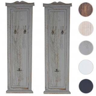 2x Garderobe Wandgarderobe Garderobenpaneel Wandhaken 109x28x4cm ~ grau shabby