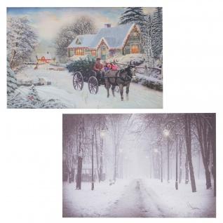 2x LED-Bild, Leinwandbild Leuchtbild Wandbild 60x40cm Snow - Vorschau 1