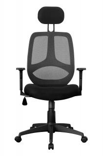 Bürostuhl A064, Chefsessel Drehstuhl, Textil, Lendenwirbelstütze schwarz