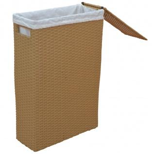 Raumspar-Wäschekorb H121, Wäschesammler, Poly-Rattan, 60x17x39cm ~ beige