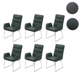 6x Esszimmerstuhl HWC-H32, Küchenstuhl Stuhl mit Armlehne, Kunstleder Stahl ~ grün