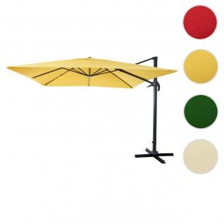 Gastronomie-Ampelschirm HWC-A96, Sonnenschirm 3x3m (Ø4, 24m) Polyester Alu/Stahl 23kg ~ gelb ohne Ständer, drehbar